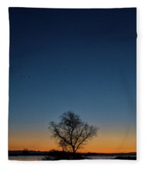 Sunset In The Refuge With Moon Fleece Blanket