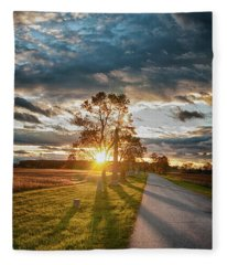 Sunset In The Tree Fleece Blanket