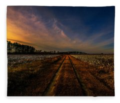 Sunset In The Twin Fields Fleece Blanket
