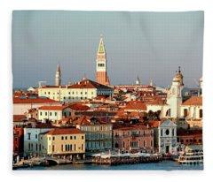 Sunset In Venice Fleece Blanket