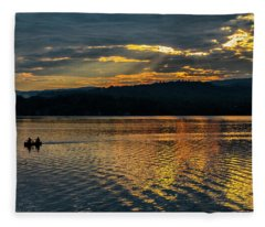 Sunset Kayaking  Fleece Blanket