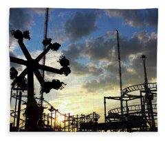 Sunset On Coney Island Fleece Blanket