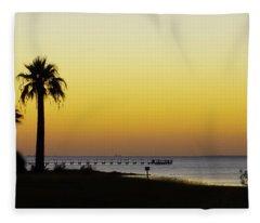 Sunset On Copano Bay, Texas Fleece Blanket