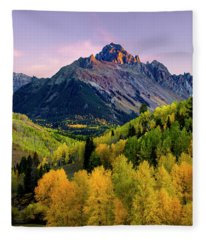 Sunset On Mt Sneffels Fleece Blanket