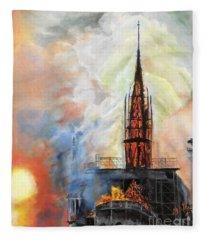 Sunset On Notre Dame Fleece Blanket