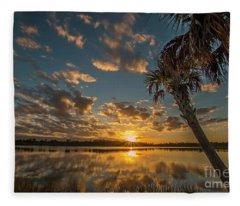 Sunset On The Pond Fleece Blanket
