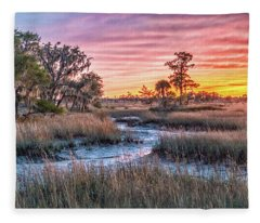 Sunset Over Chisolm Island Fleece Blanket
