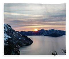 Sunset Over Crater Lake Fleece Blanket