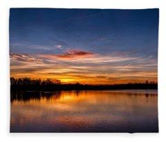 Sunset Over Laupheim Quarry Fleece Blanket