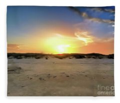 Sunset Over N Padre Island Beach Fleece Blanket