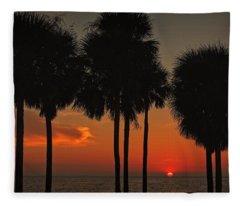 Sunset Over The Gulf Fleece Blanket