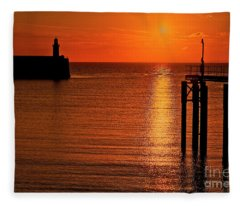 Sunset Over The Sea Fleece Blanket