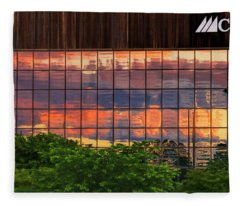 Sunset Reflections On A Wall Of Glass Fleece Blanket