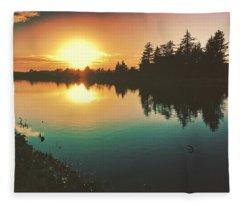 Sunset River Reflections  Fleece Blanket