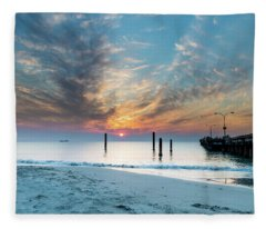 Sunset Seascape And Beautiful Clouds Fleece Blanket