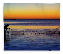 Sunset Seining On Copano Bay Fleece Blanket