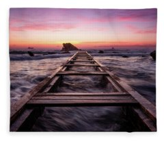 Sunset Shining Over A Wooden Pier In Livorno, Tuscany Fleece Blanket