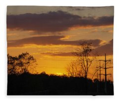 Sunset With Electricity Pylon Fleece Blanket