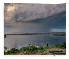Sunshine And Lightning  Fleece Blanket