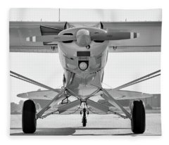 Super Cub In Black And White Fleece Blanket