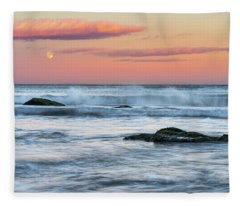 Super Moon And Sunset At Sozopol Town Beach Fleece Blanket