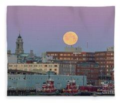 Super Snow Moon Over Portland Fleece Blanket