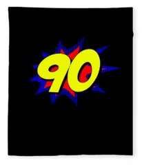 Superhero 90 Years Old Birthday Fleece Blanket