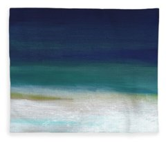 Surf And Sky- Abstract Beach Painting Fleece Blanket