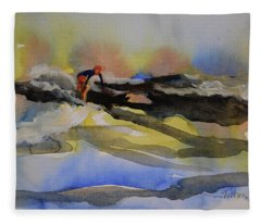 Surfer Girl On A Wave Fleece Blanket