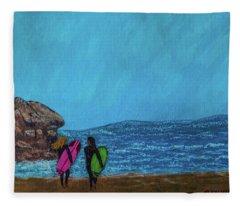 Surfer Girls Fleece Blanket