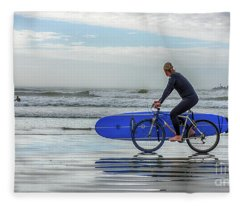 Surfer On Bike Fleece Blanket