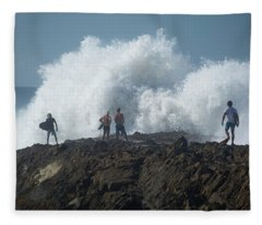 Surfers On The Beach, Coral Sea Fleece Blanket