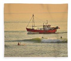 Surfing At Dusk Ij Aberystwyth Fleece Blanket