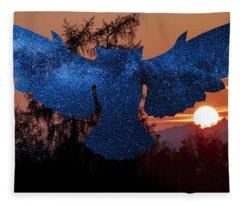 Sunset Owl Fleece Blanket