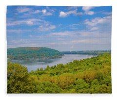 Susquehanna River In Autumn Fleece Blanket