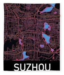 Suzhou City Map Fleece Blanket