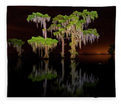 Swamp After Dark Fleece Blanket