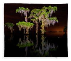 Swamp After Dark Fleece Blanket