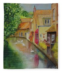 Swan Canal Fleece Blanket