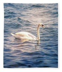Swan Photographs Fleece Blankets