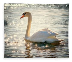 Swan On Golden Waters Fleece Blanket