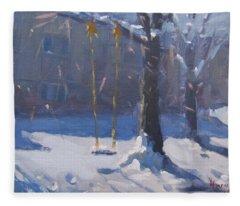 Swing And Snow Fleece Blanket