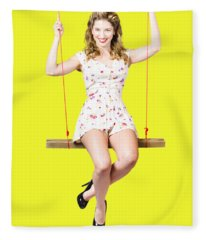 Swing Pinup Girl With Beauty Make-up And Hairstyle Fleece Blanket