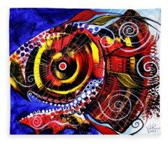 Swollen, Red Cavity Fish Fleece Blanket
