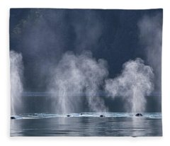 Synchronized Swimming Humpback Whales Alaska Fleece Blanket