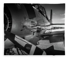 T-28b Trojan In Bw Fleece Blanket