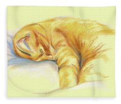 Tabby Cat Relaxed Pose Fleece Blanket