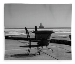 Table For One Bw Fleece Blanket
