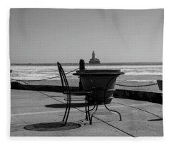 Table For One Bw Fleece Blanket