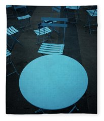 Tables And Chairs At A Cafe, Old Fleece Blanket